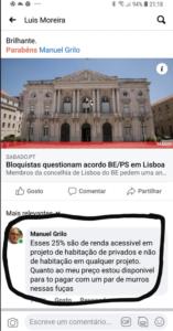 Commentaire que le conseiller Manuel Grilo aura écrit puis supprimé